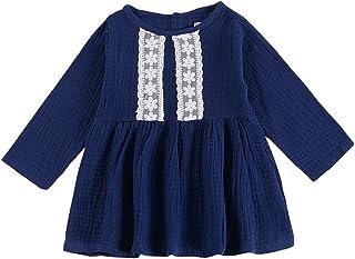 Mornyray 子供服 ドレス ワンピース 長袖 幼児 女の子 キッズ Aラインワンピース 森ガール コットン size 110 (紺色)
