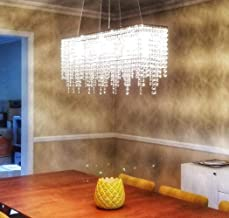 SILJOY Rechthoek Crystal Kroonluchters Plafondlichten Moderne hanglamp L100 x W25cm, 220-240V