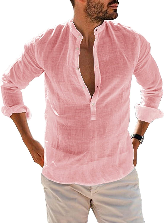 Bbalizko Mens Cotton Linen Tulsa Mall Ranking TOP12 Henley Shirts Long Sleeve Deep V Neck