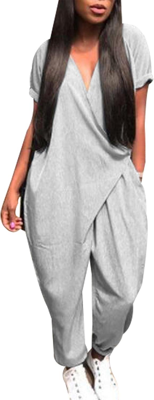 MAXIMGR Women's Casual Solid color V Neck Short Sleeve Romper Baggy Harem Jumpsuit Romper