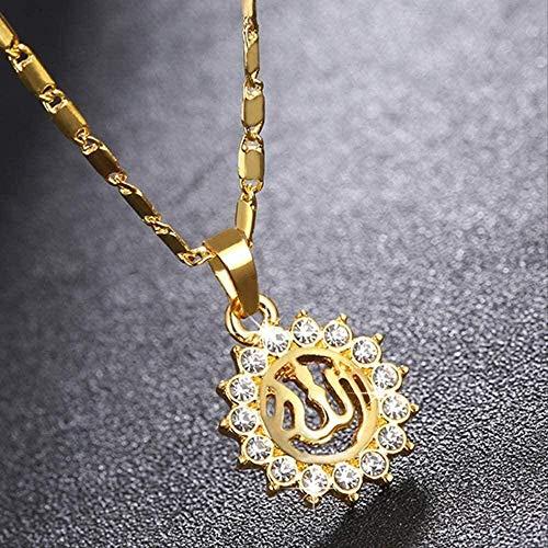 BACKZY MXJP Collar Árabe Musulmán Islam Totem Allah Allah Sun Collar Joyas Collar Longitud 50Cm Collar