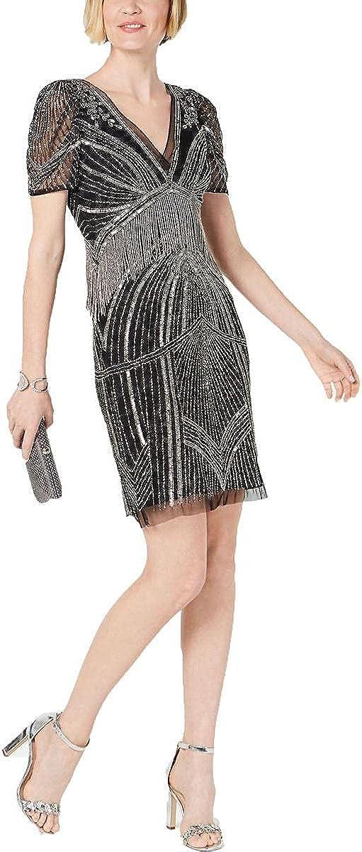 Adrianna Papell Women's Beaded Puff Sleeve Dress