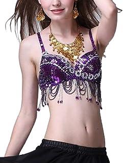 fe51f50f8366 Donne Latino Danza del Ventre con Paillettes Reggiseno Top con Il Costume di  Usura del Club