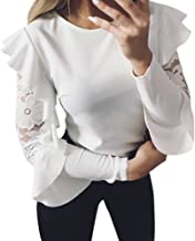 Women Blouse, Zulmaliu Butterfly Sleeve Lace Stitching O-Neck T-Shirt Solid Long Sleeve Pullover Tops