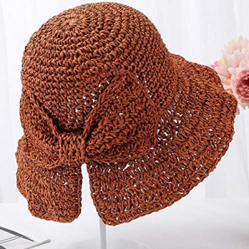 Sombrero para El Sol Sombrero De Mujer Mujer Sombrero De Verano Elegante con Lazo Grande Sombrero De Paja De Ganchillo Sólido Sombreros De Sol para Mujer para Mujer 56-58 Cm