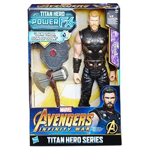 Hasbro Avengers E0616EW0 - Marvel Titan Hero Thor Actionfigur, mit Power FX Pack