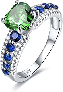 Engagement Jewelry Synthetic Emerald Heart 925 Sterling Silver Ring for Women