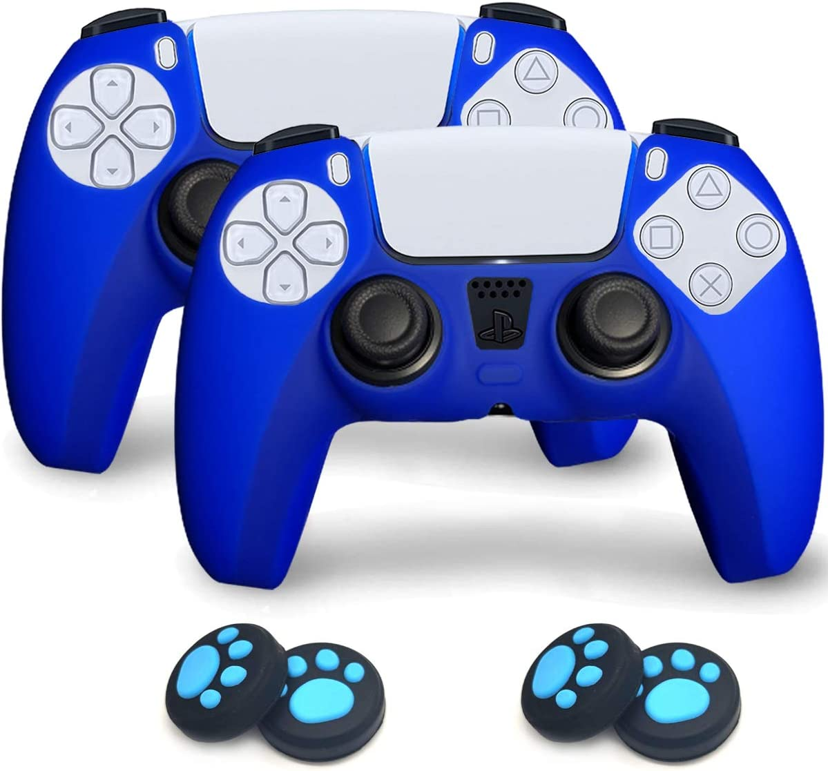 Sofunii 2 Pack Silicone Controller Skins Anti-Slip Cover Case Protector Sleeve for Playstation 5 /PS5 Controller with 4 Pack Paw Prints Thumb Grips (Blue)