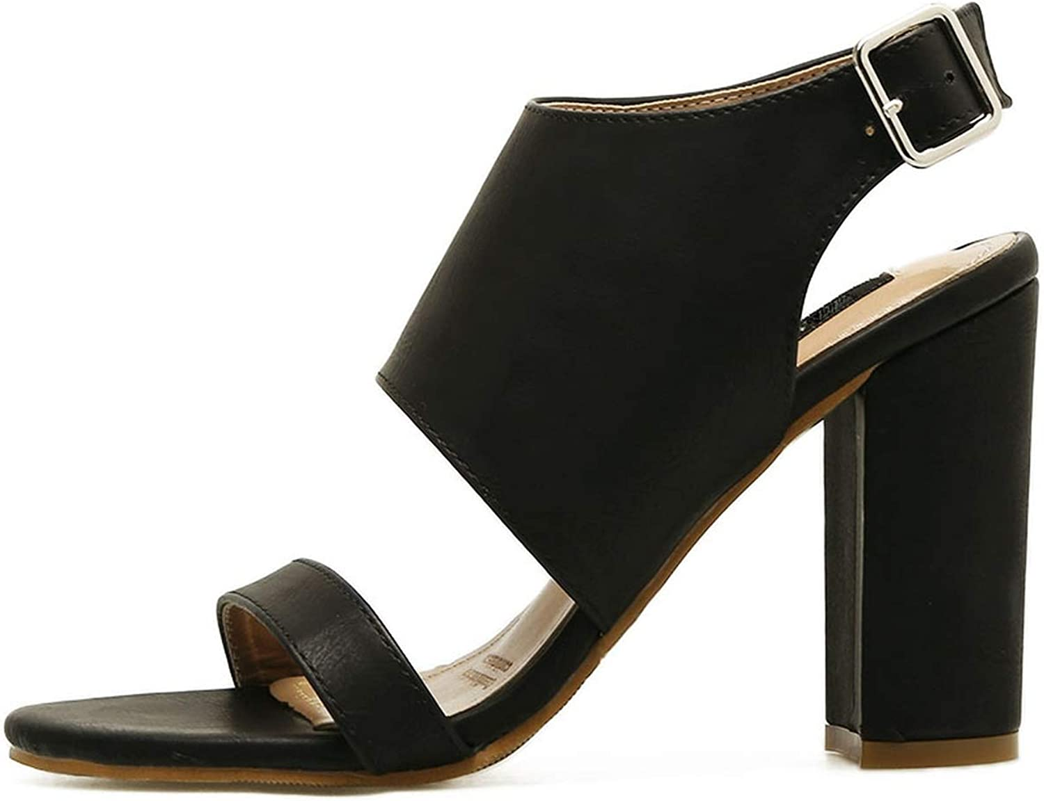 Alerghrg Buckle Style Chunky Block Pumps High Heels 10cm Black Brown Size 35-10