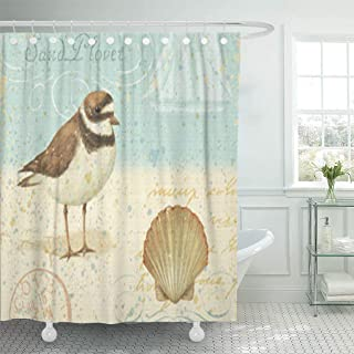Semtomn Shower Curtain Bird Vintage Beach Scene Beachy Summer Shell Clam Shore 66