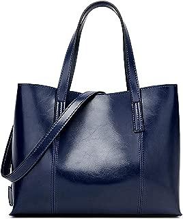 Fashion New Women's Solid Color Shoulder Leather Bag Fashion Trend Solid Color Oil Large Capacity Handbag Soft PU Handbag (Color : Blue)