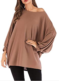 Loyomobak Women Casual T-Shirts Solid Batwing Sleeve Loose Blouse Top T-Shirt