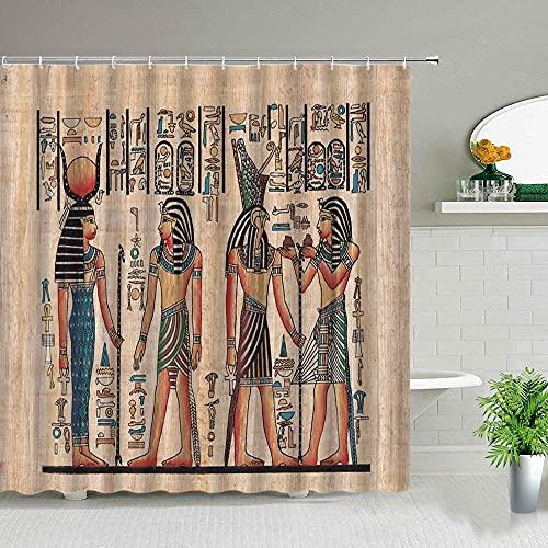 Cortina de Ducha Impresa con Pintura de faraón pirámide egipcia Vintage Cortina de decoración de baño Impermeable S.11 180x200cm