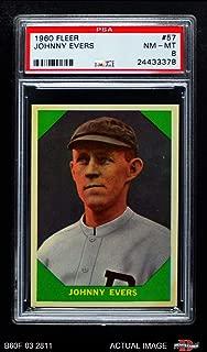 1960 Fleer # 57 Johnny Evers Milwaukee Braves (Baseball Card) PSA 8 - NM/MT Braves