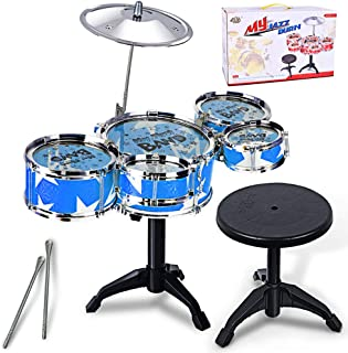 onegoodcar Children's Simulation Drum Set Fighting Jazz Musical Toys Drums & Percussion with Chair - Ideal Gift Toy for Toddlers Kids (Blue)