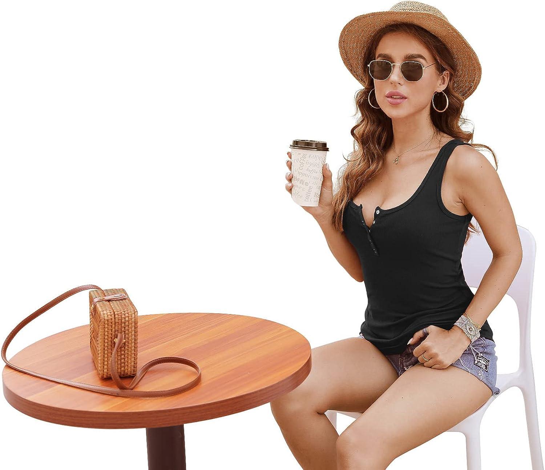 HWOKEFEIYU Womens Scoop Neck Henley Tank Tops Low Cut Solid Sexy Summer Sleeveless Button Down Shirts