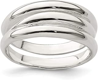 925 Sterling Silver Solid Ribbed Band Ring Fine Jewelry Gifts For Women For Her