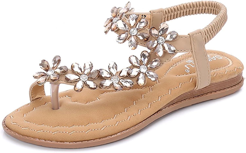 Meehine Women's Elastic Sparkle Flip Flops Summer Beach Thong Flat Sandals shoes