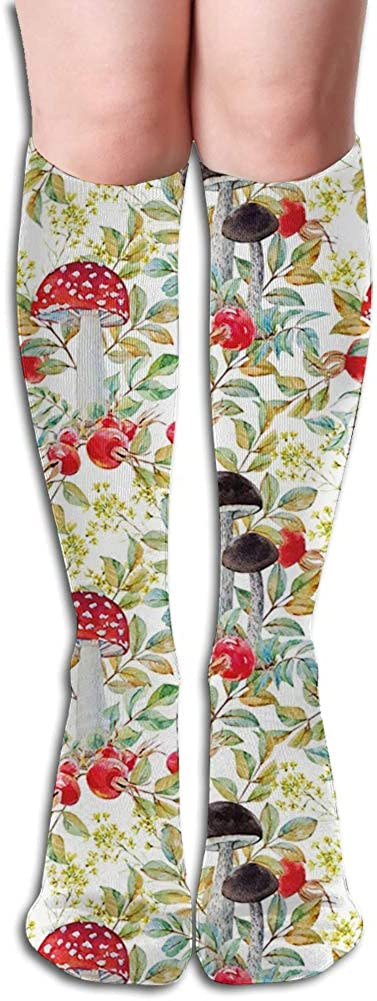 Men's and Women's Funny Casual Combed Cotton Socks,Hand Drawn Dogrose and Mushrooms Autumn Leaves Berries Amantias Nature Inspired