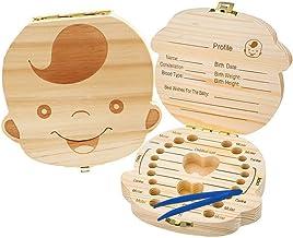 Caja de madera para guardar los dientes de los ni/ños peque/ños Glamza