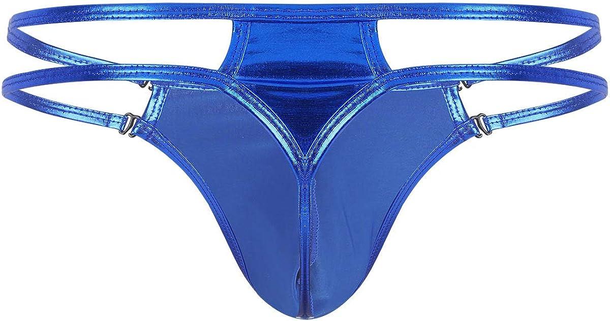dPois Herren String Tanga Metallic Unterhosen mit Bulge Pouch Low Rise Unterw/äsche Bikini Thong Elastisch Atmungsaktiv