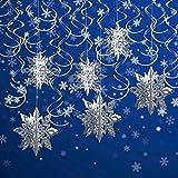 LANMOK Decorazione Fiocco di Neve 3D,24 PCS Ornamenti Fiocco di Neve di Natale Tridimensionale 3D Diversi Dimensione Soffitto Muro Festa di Natale