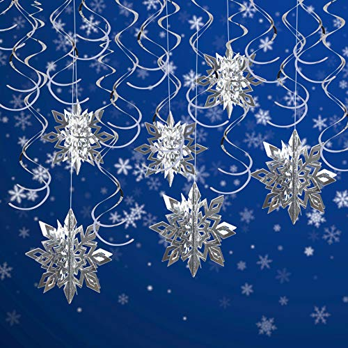 LANMOK Christmas Party Decoration, 3D Snowflake Hanging Pendant Glittery Silver Christmas Tree Decoration with Ceiling Swirls for Xmas Winter Wonderland Frozen Themed New Year Party