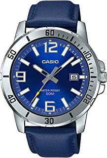 Casio MTP-VD01L-2BV Men's Enticer Blue Leather Band Blue Dial Casual Analog Sporty Watch