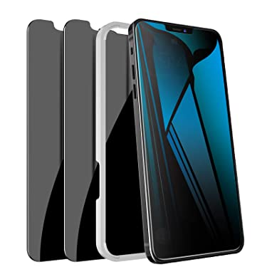 """[2 Pack] iPhone 12 Pro Max Privacy Screen Protector, LYWHL Tempered Glass Anti-Spy Screen Protector for iPhone 12 Pro Max 6.7"""" 2020 5G, [Easy Installation] Anti-Peek Black 9H Hardness Bubble Free Case friendly"""