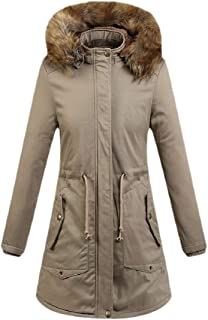 Womens Regular-Fit Hooded Warm Winter Coats with Faux Fur Lined Outwear Jacket
