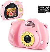 Fede Cámara para Niños con Tarjeta TF 32GB,Cámara Digitale Selfie para Niños,Video cámara Infantil con Pantalla de 2.0 Pulgadas,HD 8MP/1080P Doble Objetivo,a Prueba de Golpes,Carcasa de Silicona