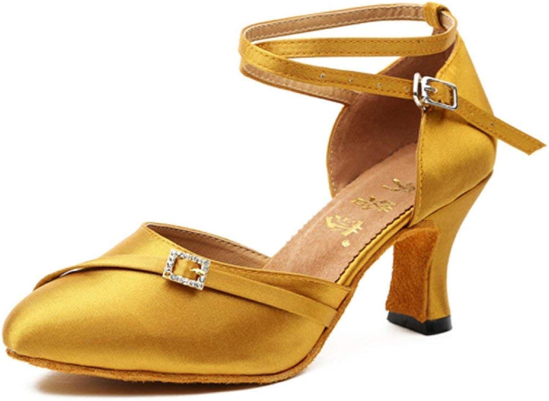 Willsego damen Latin Dance Closed Toe Hoher AbsatzSalsa Tango Tango Tango Chacha Samba Modern Jazz Schuhe Sandalen, Orangeheeled6cm-UK4.5   EU36   Our37 (Farbe   Gelbheeled6cm, Größe   UK3 EU33 Our34)  992a10
