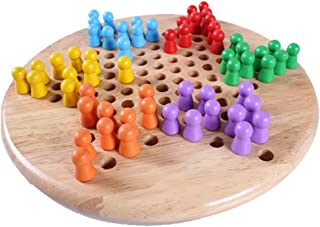 Developing Intelligence Educational Toy 2 in 1 Wooden Chinese Checkers Gobang Board Game Set Kakiyi