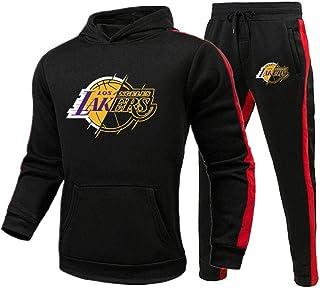 BAIDEFENG, BAIDEFENG Otoño Invierno Thicken Sweatshirt Conjuntos Deportivos Los Angeles Lakers Sports Basketball Plus Velvet Sportswear Chaqueta Casual Sports Sweater Pantalones-Grande