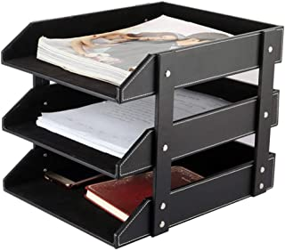 Leather Desk File Organizer, 3-Layer Stackable Tray, Used to Store documents, folders, Stationery, Magazines, Newspapers, ...