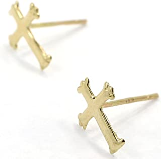 Unique Solid Real andralok 9ct yellow gold small patterned cross stud earrings