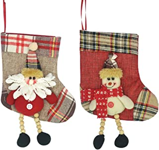 ELUTONG Christmas Tree Hanging Decorations Santa Stockings Plaid Snowflake Xmas Holiday Mini Stocking Holders Snowman Reindeer for Party Favors