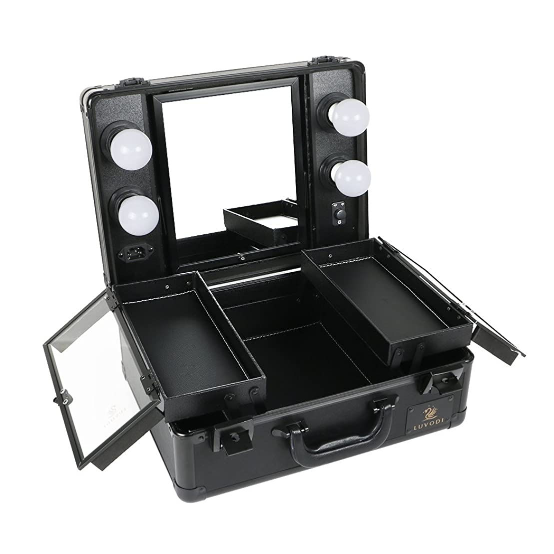 看板櫛データLUVODI メイクボックス プロ用 鏡付き コスメ収納ケース 大容量 ハリウッドミラー LED ライト 電球付き 卓上 ドレッサー 鏡面/明るさ調整可能 鍵付き 持ち運び おしゃれ 35*54*23cm(黒)