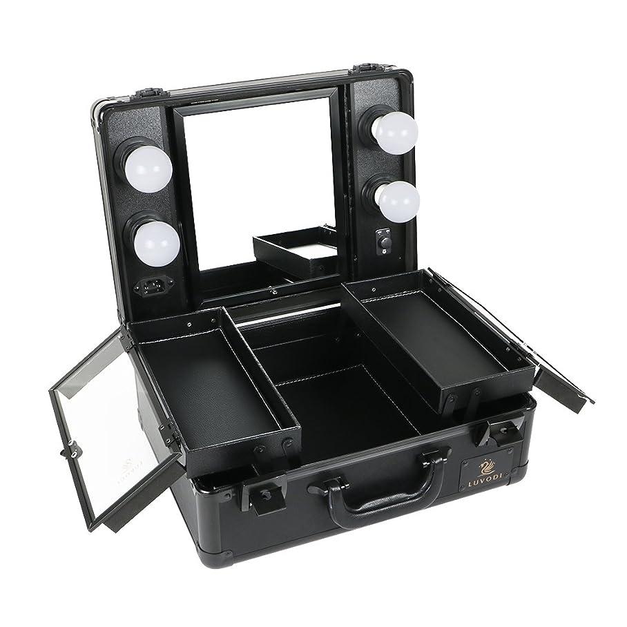 家馬鹿げた枯れるLUVODI メイクボックス プロ用 鏡付き コスメ収納ケース 大容量 ハリウッドミラー LED ライト 電球付き 卓上 ドレッサー 鏡面/明るさ調整可能 鍵付き 持ち運び おしゃれ 35*54*23cm(黒)