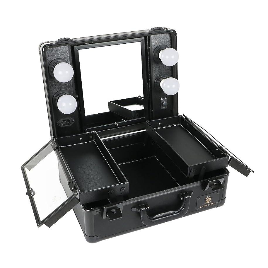 レザーハンディ端LUVODI メイクボックス プロ用 鏡付き コスメ収納ケース 大容量 ハリウッドミラー LED ライト 電球付き 卓上 ドレッサー 鏡面/明るさ調整可能 鍵付き 持ち運び おしゃれ 35*54*23cm(黒)