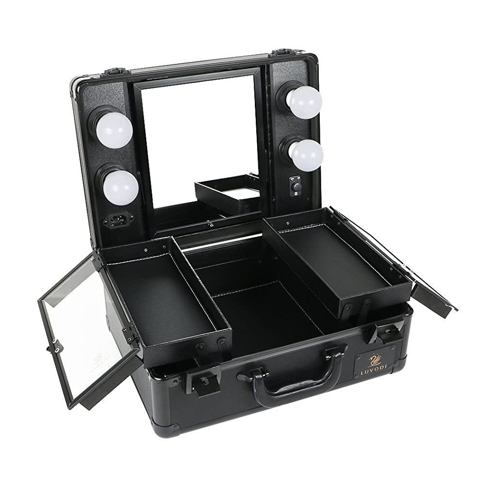 名詞持っているまつげLUVODI メイクボックス プロ用 鏡付き コスメ収納ケース 大容量 ハリウッドミラー LED ライト 電球付き 卓上 ドレッサー 鏡面/明るさ調整可能 鍵付き 持ち運び おしゃれ 35*54*23cm(黒)