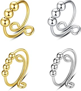 Fidget Ring Set, Anxiety Ring with Beads Spinner Rings for Women Anti Anxiety Adjustable Fidget Jewelry