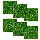 6 Pcs Césped Artificial en Miniatura 15 x 15cm Césped de Plástico Interior al Aire Libre Hierba sintética Micro Paisaje Musgo para Decoración de Jardín Casa Muñecas - Verde