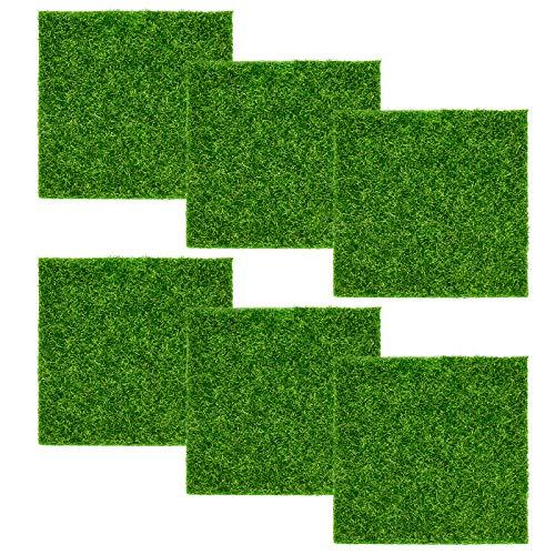 6 Pcs Künstliche Moos Deko Rasen Gras Miniatur Moos Gras 15x15 cm Garten Kunstrasen Verzierung Moos DIY Mikro Landschaft Miniatur Dekoration Haus Deko Künstliche Rasen