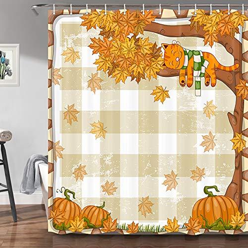 JAWO Fall Thanksgiving Duschvorhänge für Badezimmer, Happy Lazy Cat Herbst Kürbis Ahorn Baum mit rustikalem Büffel Karo Dekor, Badvorhang 173 x 178 cm