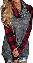 Rambling New Womens Long Sleeve Cowl Neck Tunic Tops Casual Plaid Sweatshirts Pullover