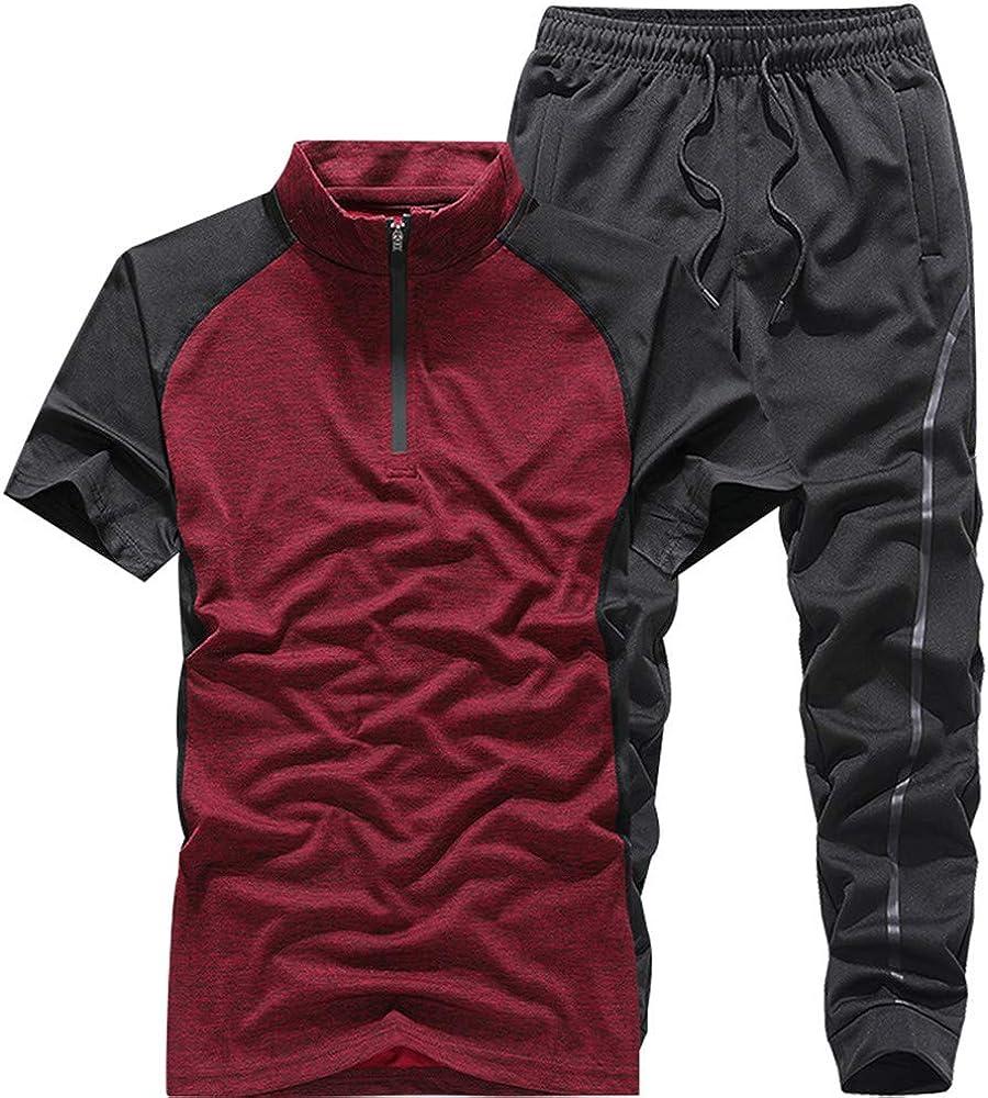 KISSQIQI Men's Casual Tracksuits Sets Half Zipper Short Sleeve Shirts Running Jogging Sports Suit Set