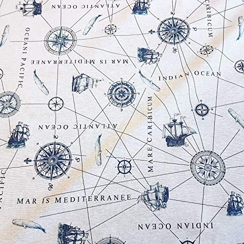 Stoff Meterware Weiss blau Seekarte Schiff Segel Ecru Kompass Nordsee Sylt