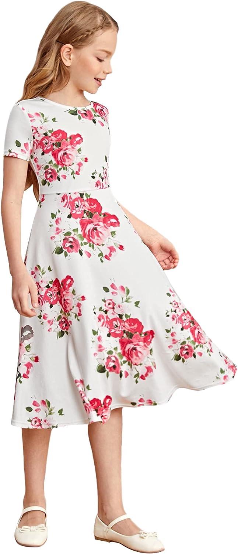 Romwe Girl's Floral Print Omaha Mall Short Sleeve Flared Line Dresse A 5 popular Midi
