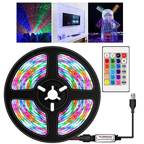 Apofly LED-Streifen-Lichter LED-Band-Licht RGB-Streifen, wasserdichte Fernbedienung 16 Farben Dekoration für Heim-TV Küche DIY 5M Dekorations Zubehör